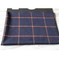 China Business Casual Style Plaid Tartan Fabric , Dark Blue Tartan Fabric Wool With Orange Line wholesale