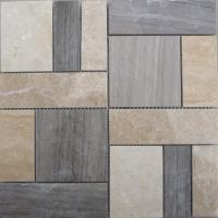 China Natural white and grey marble stone wall tile in mosaic pattern on sale