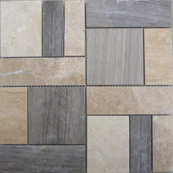 Quality Natural white and grey marble stone wall tile in mosaic pattern for sale