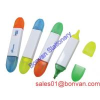 China Multi color high quality double shape double color promotional highlighter marker wholesale