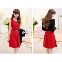 China Customized Round neck short Womens Suit Dress Long Sleeve , Red / Black wholesale