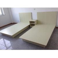 China Beige Modern Hotel Room Furnishings Small Wooden Double Bed Moistureproof wholesale