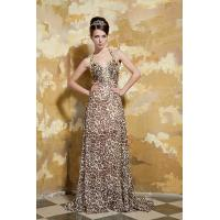 China Gorgeous A-line Halter V Neck Chiffon Evening Gown Leopard Party Dresses With Beads wholesale