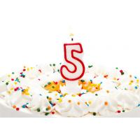 Buy cheap Birthday Candle Number 5 With Red Color Edge , Lovely Candles For Cake Decorating from wholesalers