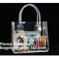 China Thick Clear PVC Handbag With Tube Handles,Cosmetic/ Makeup/ Toiletry Clear PVC Travel Wash Bag with handle, Bagease wholesale