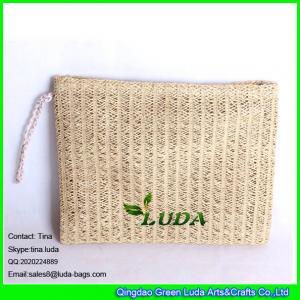 China LUDA Clutch Purse Bag Evening Shoulder Coated Straw Envelope Paper Straw Handbag wholesale