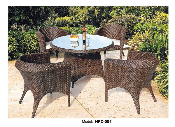 pe rattan round wicker coffee table with glass top