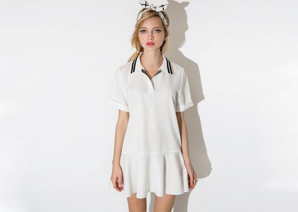 Quality Polo Ladies Flared Dress Striped Varsity Collar With Plus Size for sale