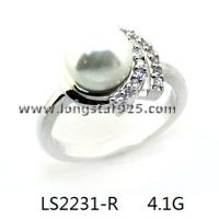 China 925 silver cz pearl ring, wedding ring jewelry wholesale
