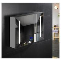 China Commercial Illuminated Bathroom Mirror Cabinet Single Door Stainless Steel Mirror Cabinet on sale