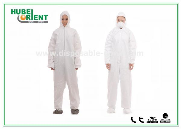 Quality SMS Protective Disposable Waterproof Coverall with Hood and Shoe Cover for sale