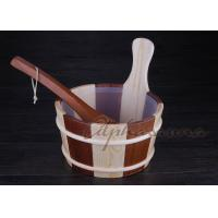 China ISO 1 Gallon wooden sauna bucket and ladle Spruce and red cedar together wholesale