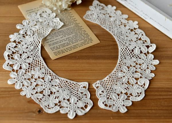Quality Embroidered Water Soluble Floral Lace Collar Applique For Lady Garment 100% Cotton for sale