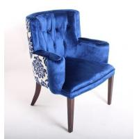 Buy cheap Blue Velvet Tufted Chair Home Furniture , Wooden Arm Chairs Living Room from wholesalers