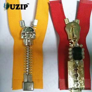 China hot sale big teeth metal skull zipper with decorative zipper puller wholesale