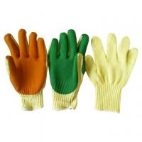 China nylon lining green nitrile latex coated foaming safety working glove wholesale
