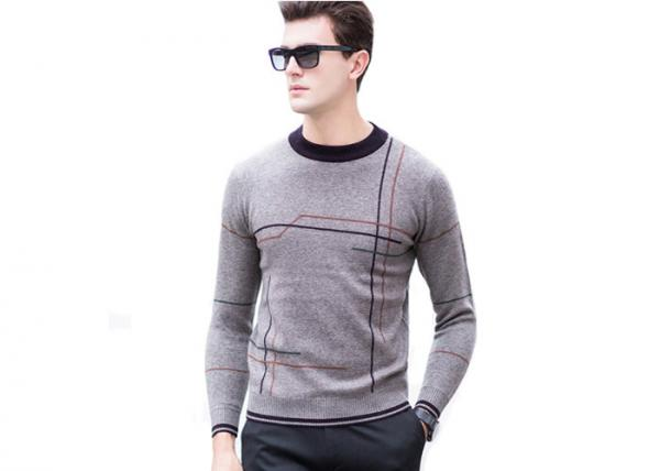 Quality Crew Neck Mens Pullover Sweater Striped Pattern Intarsia Design For Winter for sale