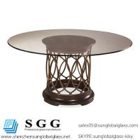 China dining table with art intrigue round glass top wholesale
