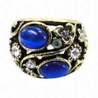 China Ring with shiny rhinestones and opal stones wholesale