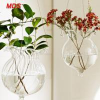 China Hanging cheap flower lotus leaf glass vases centerpieces for living room on sale