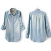 China New Womens Denim Shirt Lady Long Sleeves Button-Front Floral Denim Blouse on sale