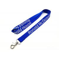 China Custom 460mm Length Imprinted Nylon Lanyards Turquoise Color With Thumb Trigger wholesale