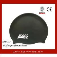 China Silicone colorful printed swimming caps on sale