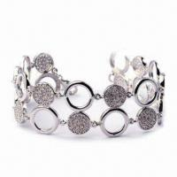 China Jewelry Bangle, Made of 925 Silver and CZ Stone, Customized Designs are Accepted wholesale
