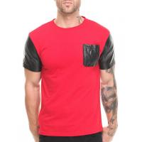 China Red shirt with black leather sleeve shirt and pocket men factory product wholesale