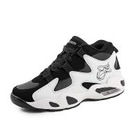 China Black And White High Ankle Basketball Shoes Anti Slippery Thickened Sole wholesale