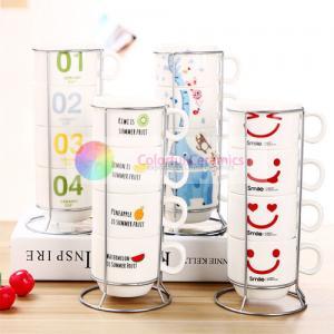 China 320ml Cute Monogram Coffee Mug Set With Holder , Coffee Cup Set With Stand on sale