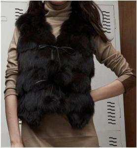 Buy cheap Women's Fox Fur Vest Fox Fur Coats Fox Fur Jacket Japanese & Korean style Z41 Black from wholesalers