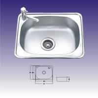 China 1 Bowl Polished Stainless Steel Kitchen Sink With Faucet 550 X 400mm wholesale