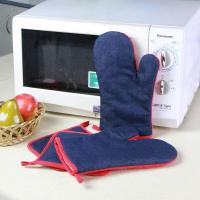 Denim Fabric Kitchen Oven Mitts / Heat Resistant Kitchen Gloves For House Use