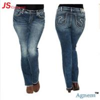 China Stretch Embroidery Ladies Jeans Pant Light Washed Casual Style wholesale