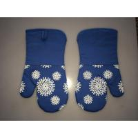 Blue Silicone Coated Oven Mitt Professional Oven Gloves For Kitchen