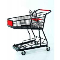 China Powder Coated Shopping Basket Trolley Metal Wire Grocery Cart With Casters wholesale