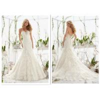 China Custom noble style off white a line brides wedding dress with lace wrapping flower wholesale