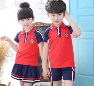 China Summer Short Sleeve Teen School Uniform Comfortable Hit Color Shoulder Stitching wholesale