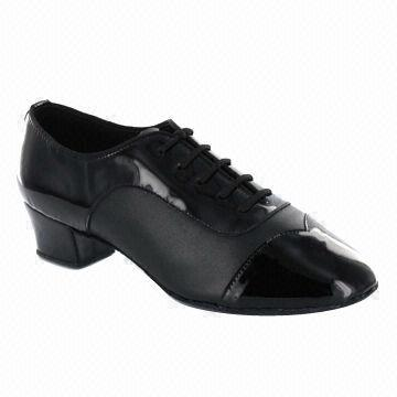 Quality Dance shoes, Latin style, suitable for men, made of black patent and black leather for sale