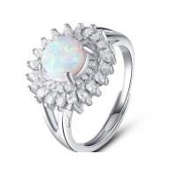 China White Micro Pave Setting 925 Sterling Silver Opal Ring Luxurious Engagement Rings wholesale