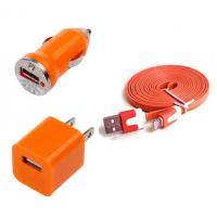 China USB Home AC Wall charger+Car Charger+8 Pin Sync USB Cord for iPhone 5 5S 5C 5G Orange wholesale