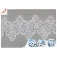 China 17CM Width White Guipure Embroidered Lace Trim With Azo Free Dyeing Poly Milky wholesale