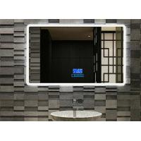 China Customized frameless Mirror Smart Touch Screen Mirror Lighted Bathroom Vanity Wall Mirror For Hotel wholesale