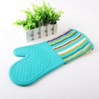 China Half Silicone Half Cotton Heat Insulating Cooking Kitchen Oven Mitts Stripe Pattern wholesale