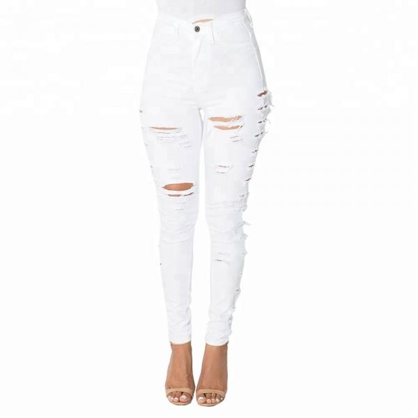 Quality High Waist Ladies Jeans Pant Full Length Black Ripped Skinny Jeans for sale