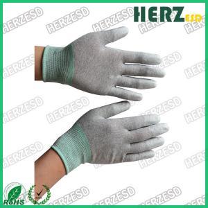 China Electronic Workshop ESD Safe Gloves , Anti Static Work Gloves PU Finger Tip Coating on sale