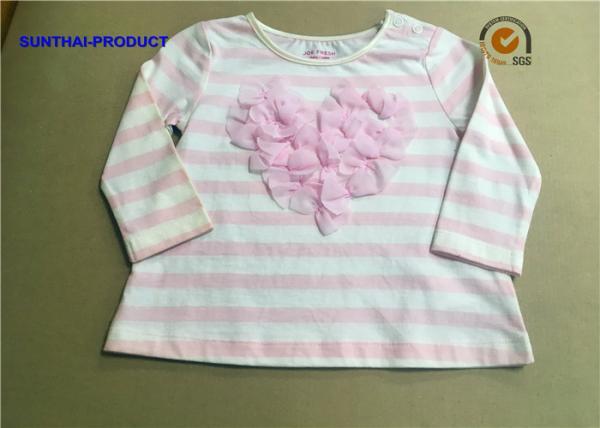 Quality Stripe AOP Children T Shirt Long Sleeve Satin Neck 3D Bows Kids White T Shirt for sale