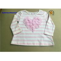 China Stripe AOP Children T Shirt Long Sleeve Satin Neck 3D Bows Kids White T Shirt wholesale