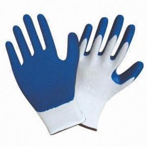 China Nylon Latex Palm Coated Gloves with Crinkle Finish on sale